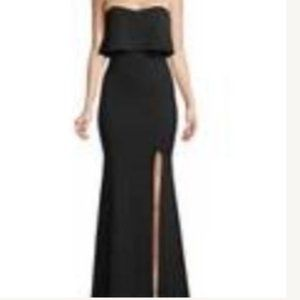 Xscape Strapless Popover Black Gown